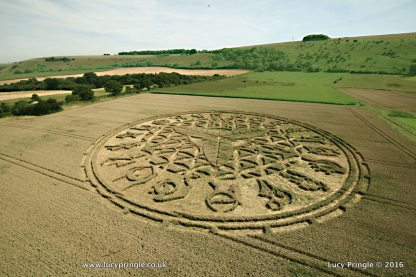 Ansty, Nr Salisbury, Wiltshire. 12 August 2016. Wheat. c.260 feet (79m). A complex formation with suggestions that the hyroglyphs on the outer ring represent Hebrew symbolism, translated as 'Mother Ship'.