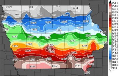 Degree day map of stalk borer