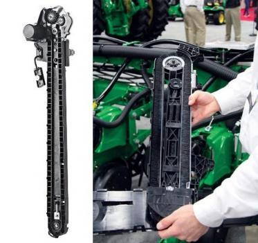 Seed delivery system for Precision Planting SpeedTube (left), John Deere ExactEmerge (right). Photos courtesy of Precision Planting and John Deere.