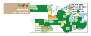 A map illustrating seed treatments and its correlation to total yield throughout the North Central region