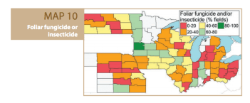 A map illustrating foliar pesticide application and its correlation to total yield throughout the North Central region