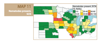 A map illustrating the presence of SCN and its correlation to total yield throughout the North Central region