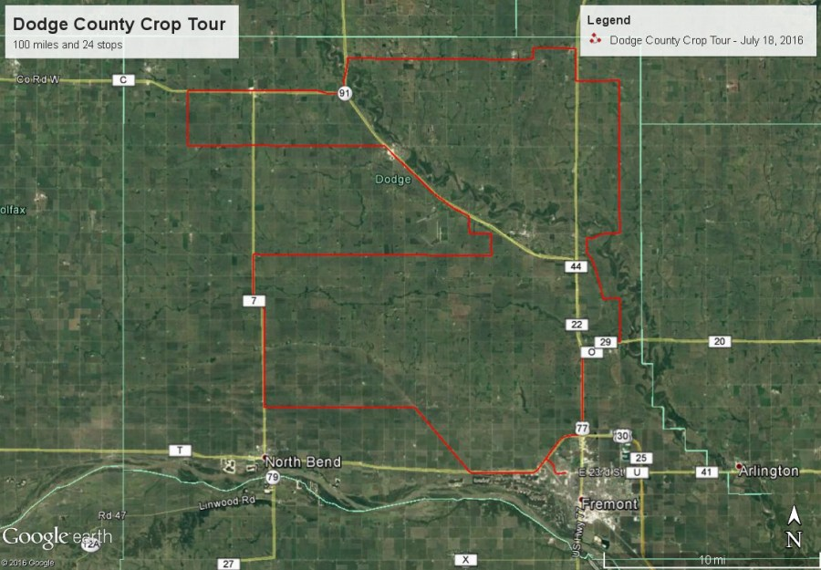 Dodge County Crop Tour Route from July 18, 2016
