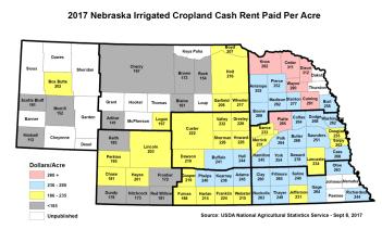Nebraska map of irrigated cropland cash rents 2017