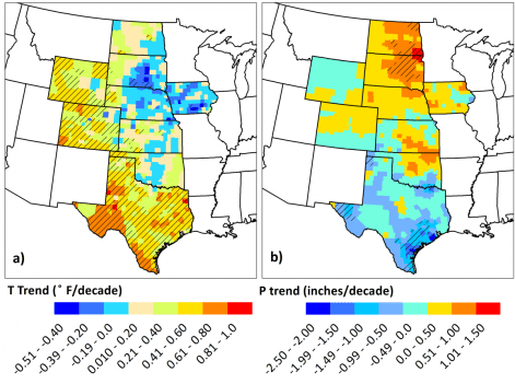 Maps showing how much of the variance in corn, sorghum and soybean yields were due to shifts in temperature and precipitation between 1968 and 2013. Adapted with permission from Scientific Reports/Springer Nature