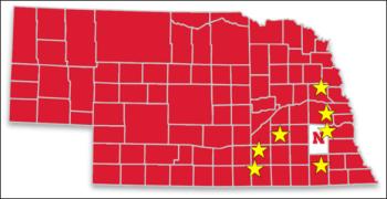 Nebraska map showing the location of seven experimental fields in 2018.