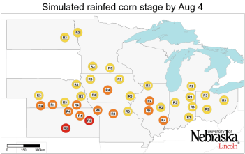 Graph of Simulated developmental stage for rainfed corn at each location