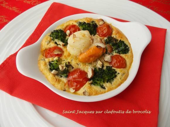 Saint Jacques sur clafoutis de brocolis       040