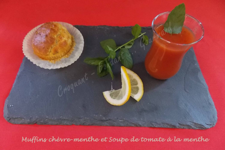 Muffins chèvre-menthe et Soupe de tomate à la menthe DSCN5918
