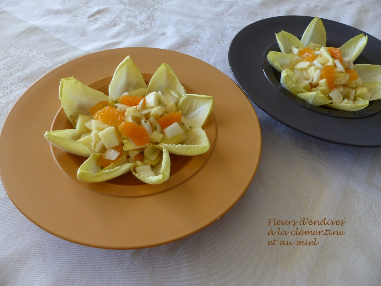 Fleurs d'endives à la clémentine et au miel R P1070975
