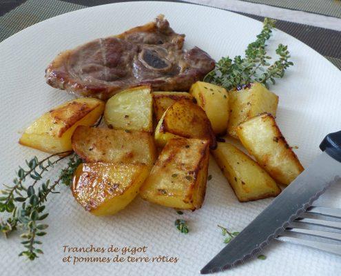 Tranches de gigot et pommes de terre rôties R