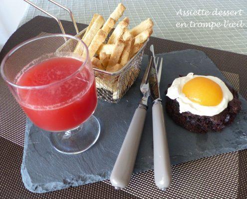 Assiette dessert en trompe l'œil P1120696 R