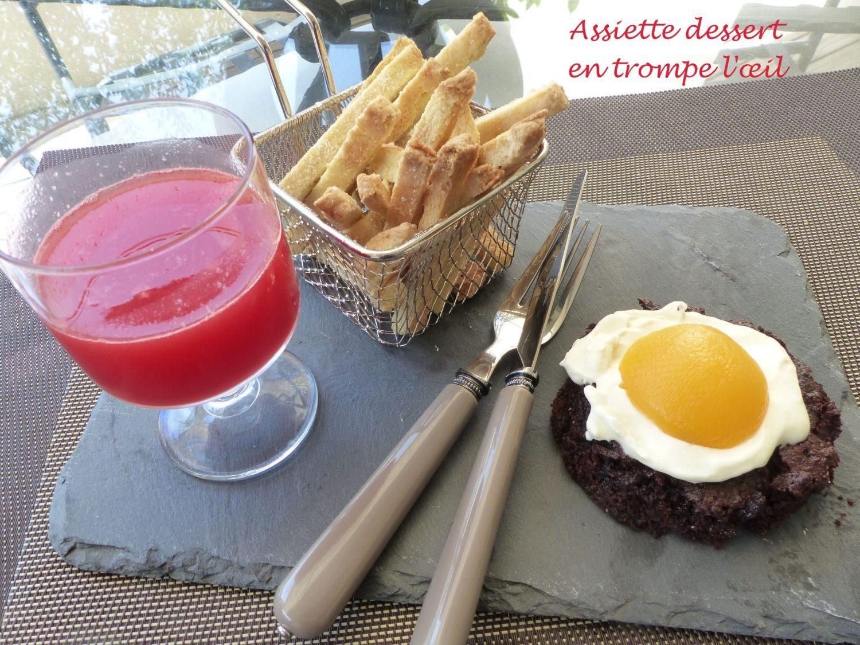 Assiette dessert en trompe l'œil P1120697 R