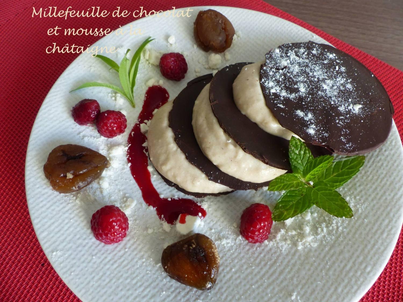 Millefeuille de chocolat et mousse à la châtaigne P1200914 R