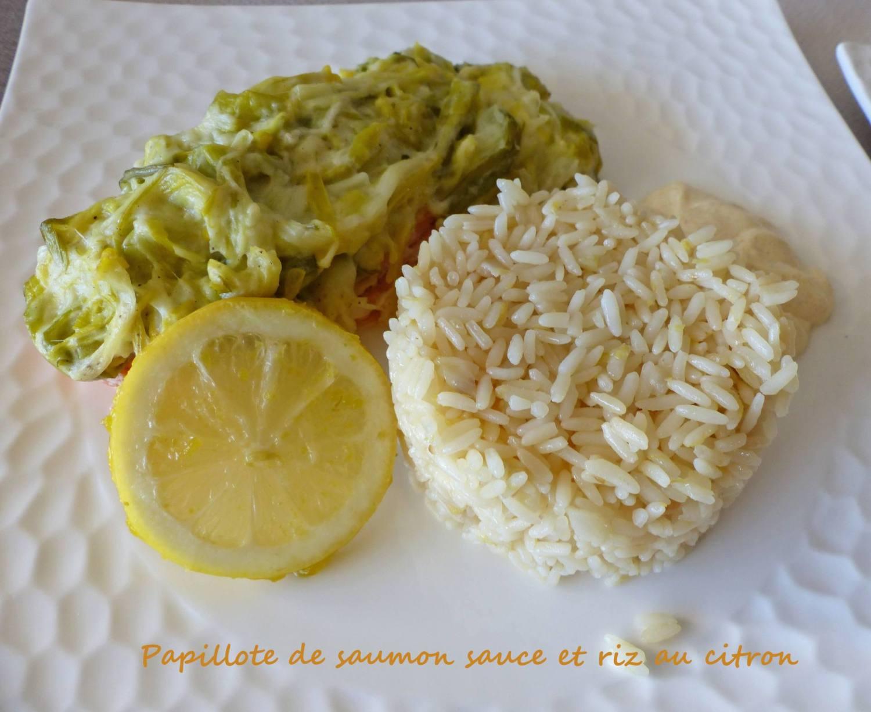 Papillote de saumon sauce et riz au citron P1220839 R