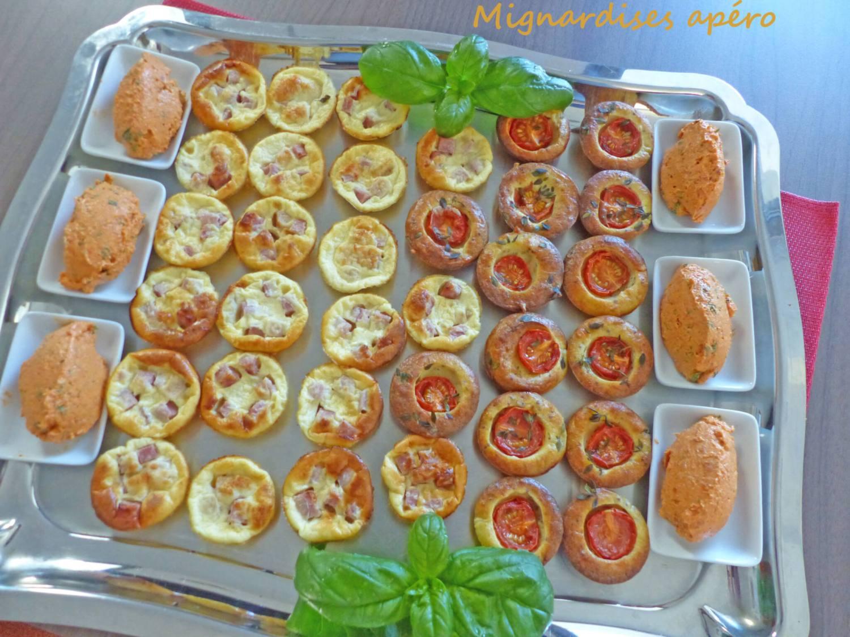 mignardises apéro Mini-quiches sans pâte & Petites bouchées aux tomates cerises- Tartinade au chorizo P1250319 R