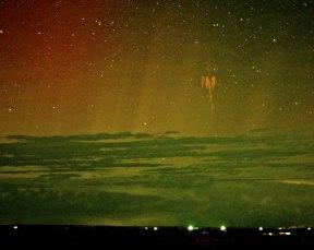 Red Sprite Lightning (with aurora)
