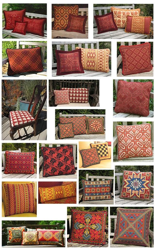 Winter cross-point stitching in warm reds