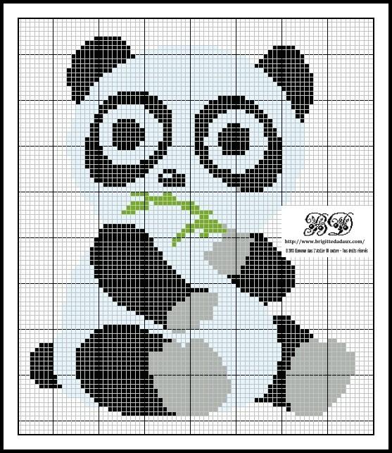Panda monium cross stitch - Grille point de croix gratuite a imprimer ...