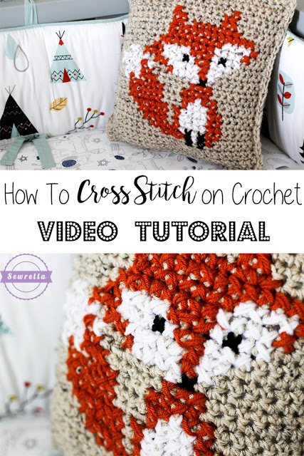 How to cross stitch on crochet.