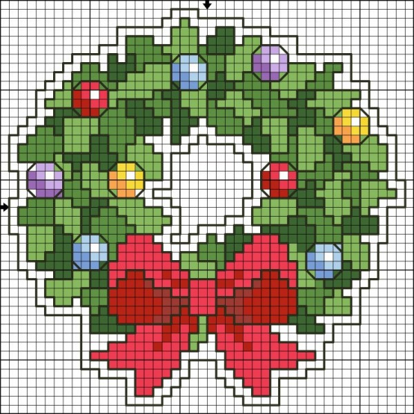 christmas wreath cross stitch chart
