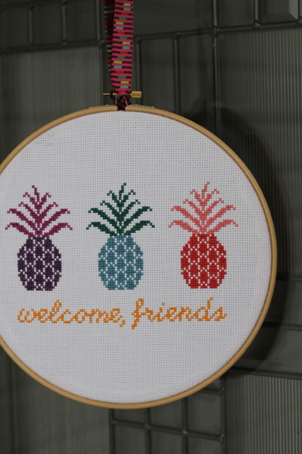cross stitch pineapple welcome sign