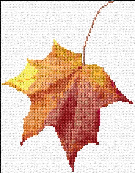 Gorgeous maple leaf cross stitch chart.