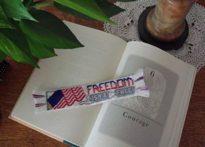 Freedom Isn't Free cross stitched bookmark