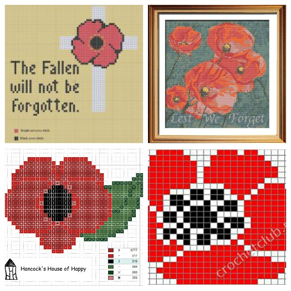 Poppy Cross Stitch Patterns to Stitch for Remembrance Day.