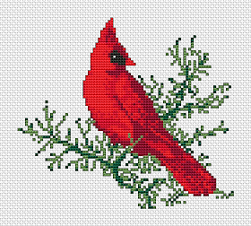 Cardinal in winter cross stitch pattern