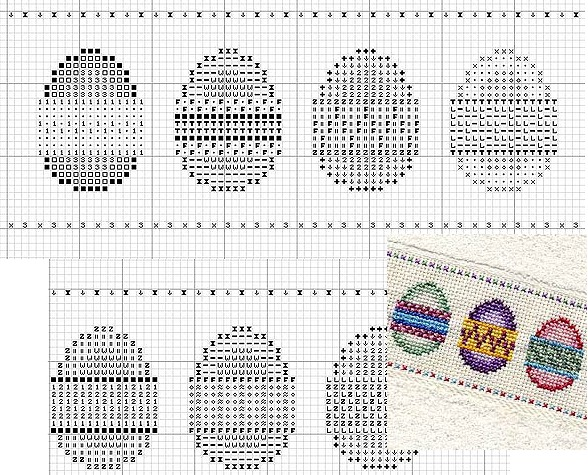 Easter egg towel pattern
