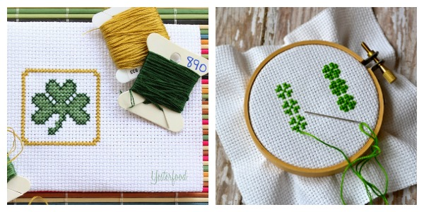 Little clover and shamrock cross stitch patterns.