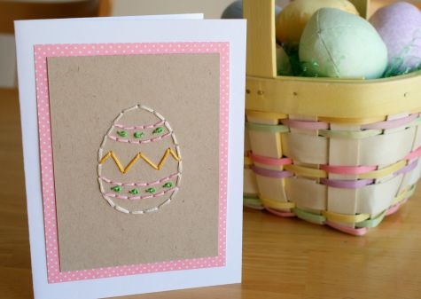 Egg stitched Easter card.