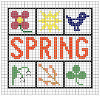 Spring mini cross stitch pattern.