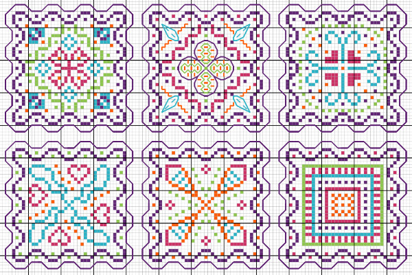 multicolored wavy edges cross stitch designs