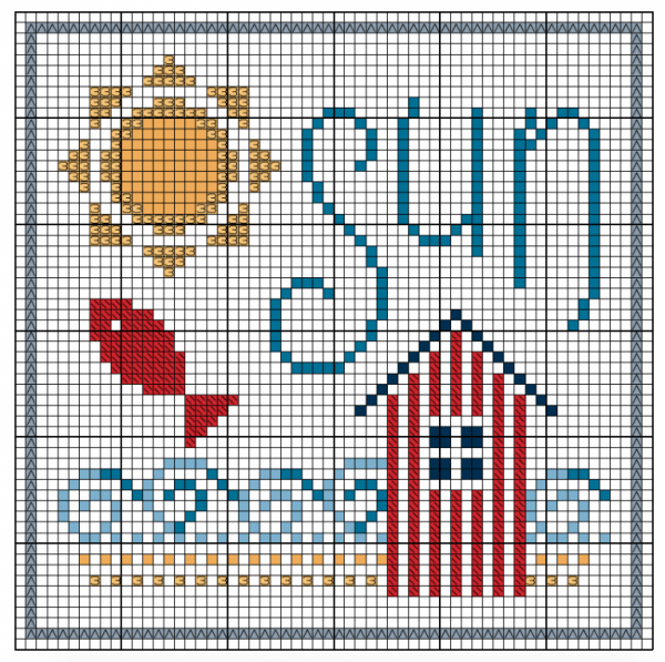 free beach hut cross stitch pattern