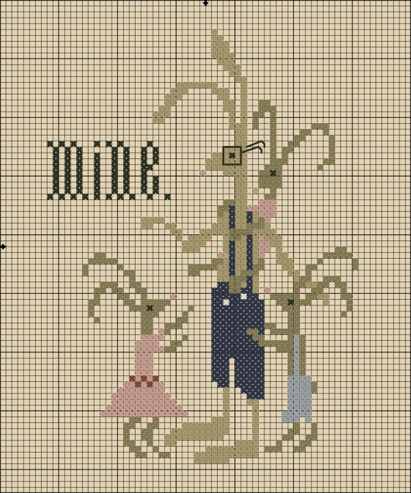 Father's Day rabbit cross stitch pattern