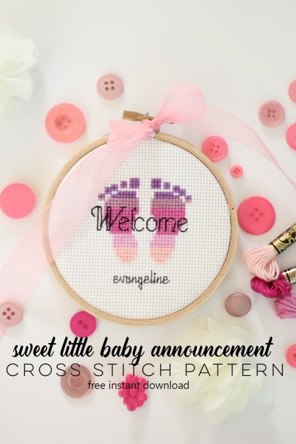 cross stitch birth announement