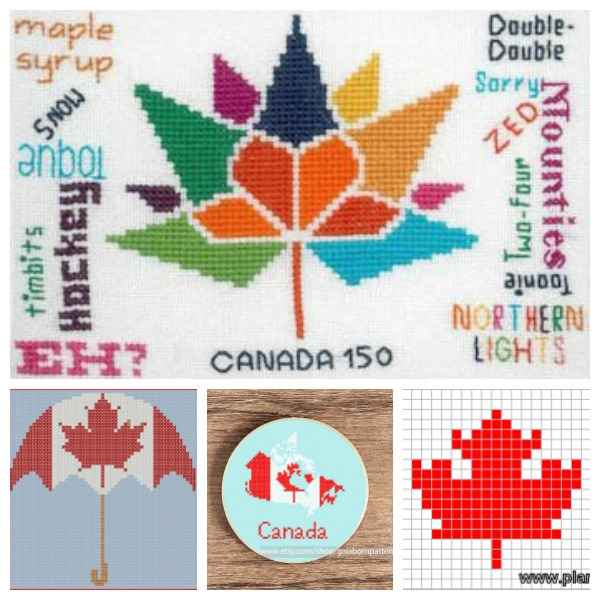 Cross-stitch charts to celebrate Canada.
