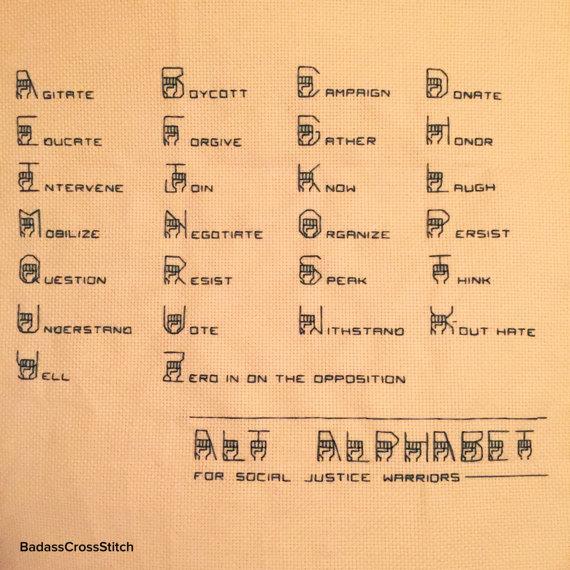 activist cross stitch alphabet