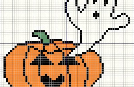 Ghost and Pumpkin Cross Stitch