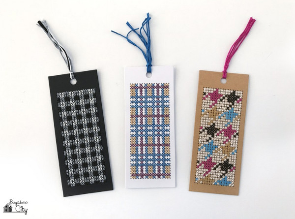 cross stitch bookmarks inspired by fabric