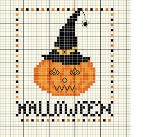 pumpkin witch cross stitch pattern