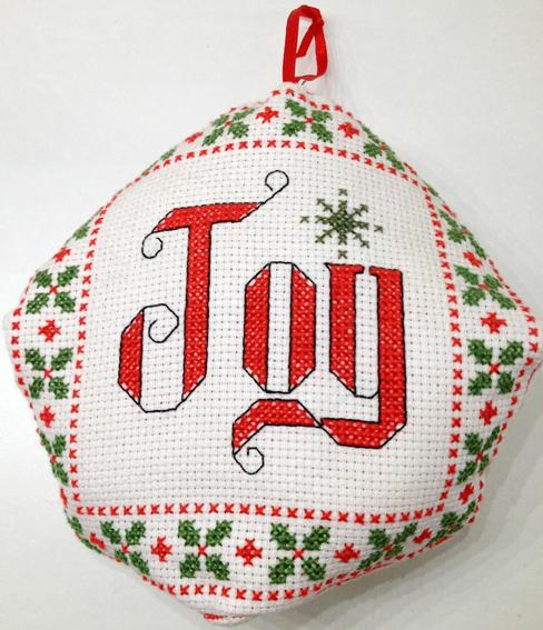 joy cross stitch ornament
