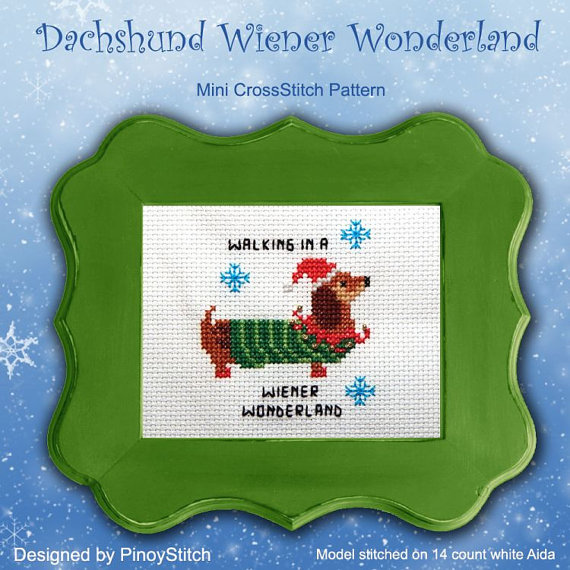 dachshund winter winterland cross stitch