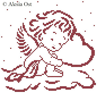 Sleeping Cupid Cross Stitch Pattern