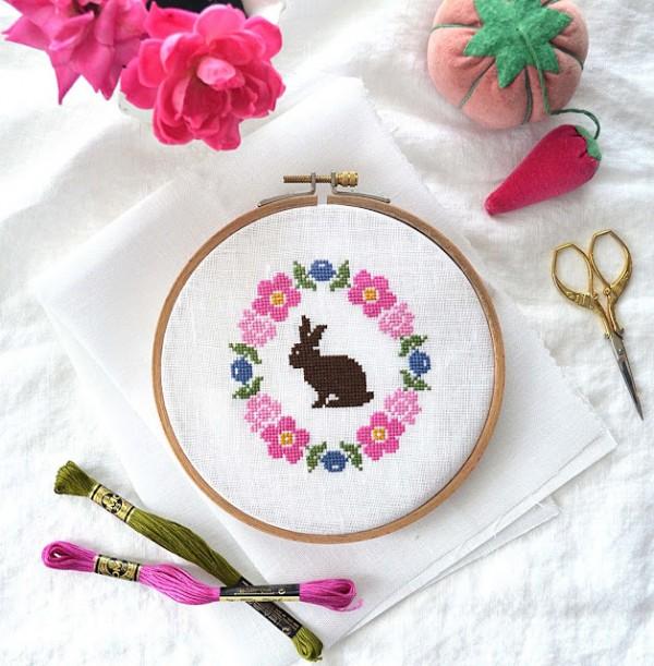 floral bunny cross stitch pattern