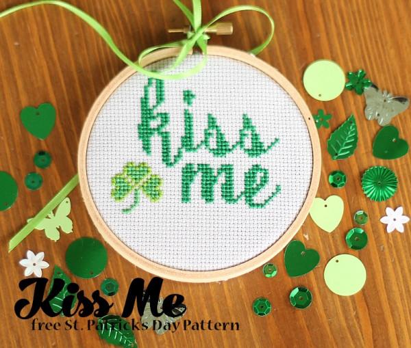 kiss me cross stitch pattern