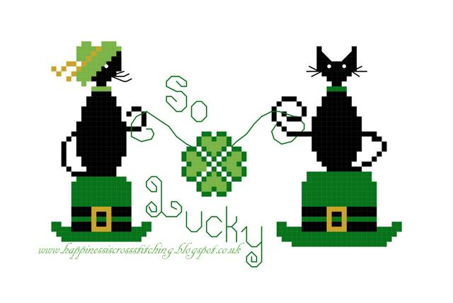 St. Patrick's Day Cats to Stitch