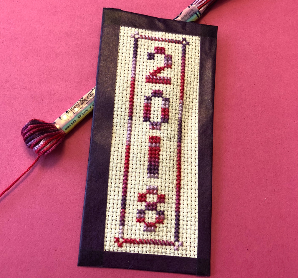 2018 stitched bookmark